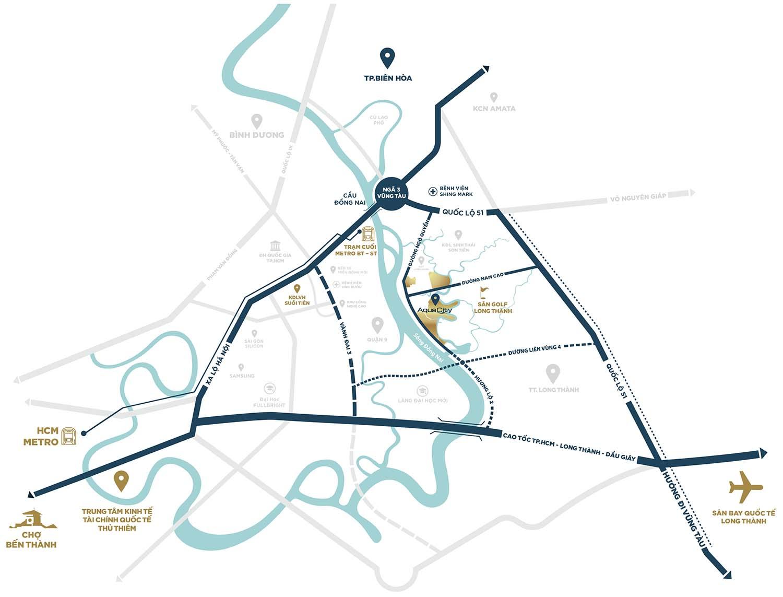 Bản đồ vị trí dự án Aqua City Novaland Đồng Nai
