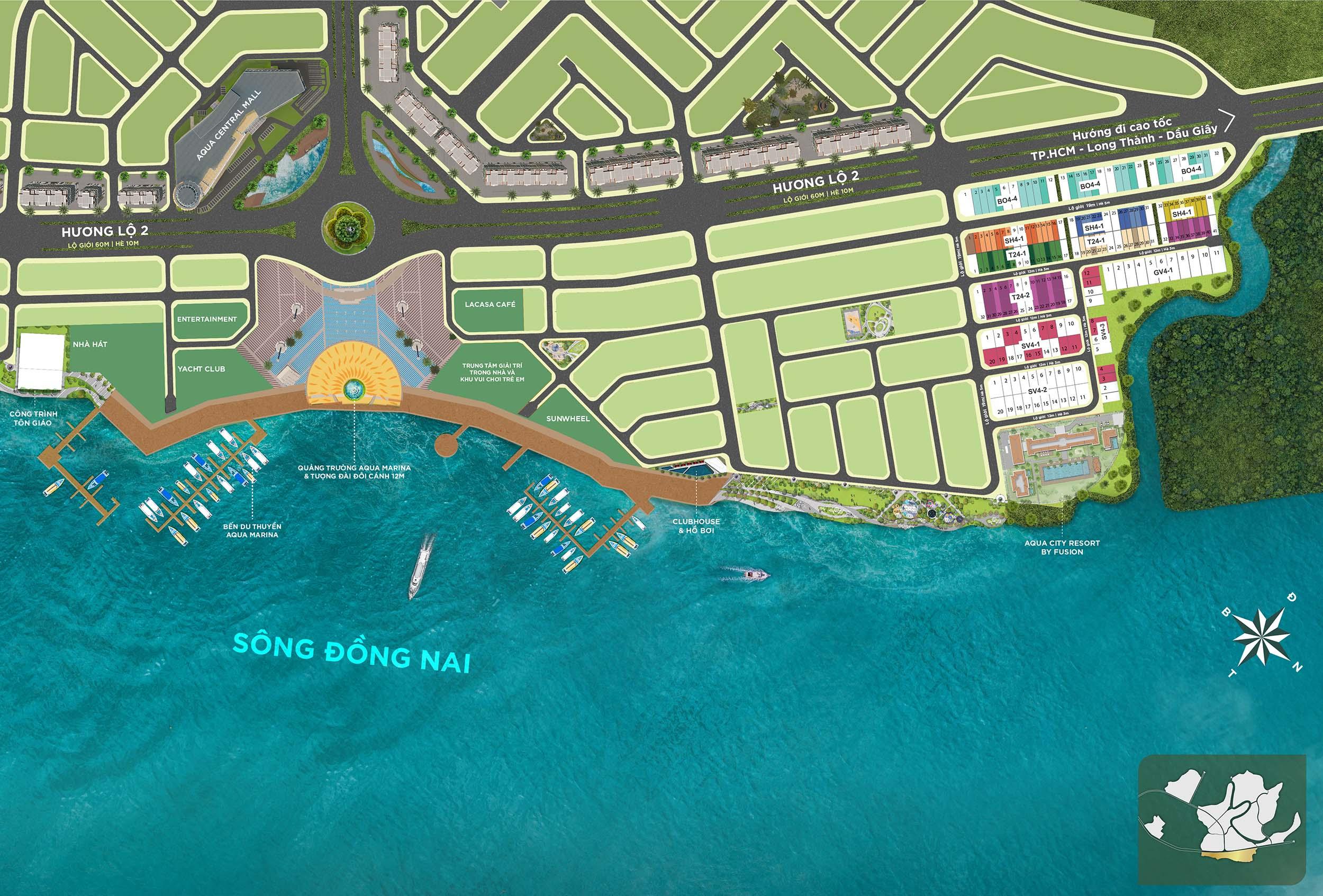 Mặt bằng phân lô Aqua Marina - Sun Harbor 1