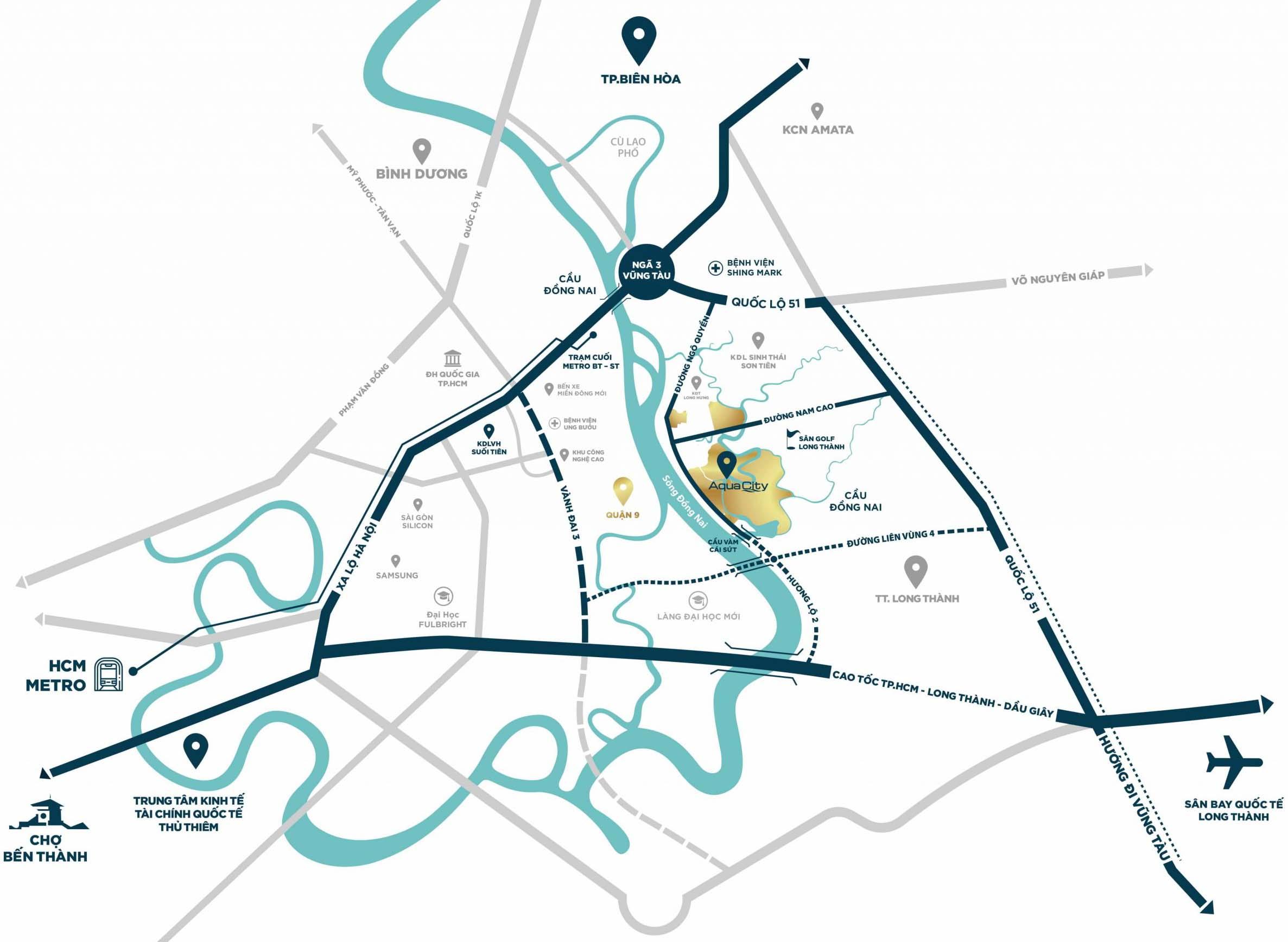 Bản đồ vị trí Aqua City